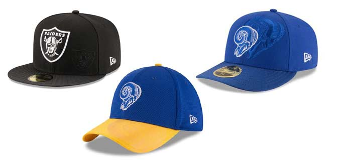 NFL Caps-Oakland Raiders and LA Rams