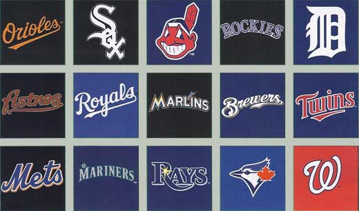 Orioles, White Sox, Redskins, Rockies, Detroit Tigers, Astros,Royals, Marlins, Brewers, Twins, Mets, Mariners, Rays, Blue Jays, Washington Nationals